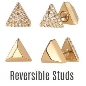 :: S&D⚜️GOLD Dejavu Reversible Pavé Studs